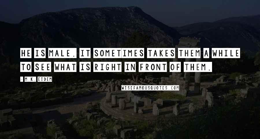 M.K. Eidem quotes: He is male. It sometimes takes them a while to see what is right in front of them.
