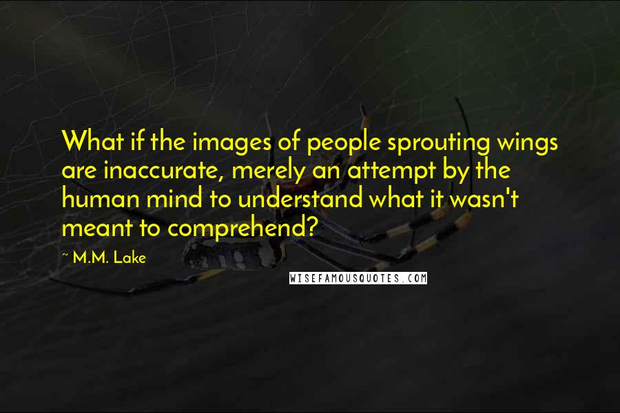 M.M. Lake quotes: What if the images of people sprouting wings are inaccurate, merely an attempt by the human mind to understand what it wasn't meant to comprehend?