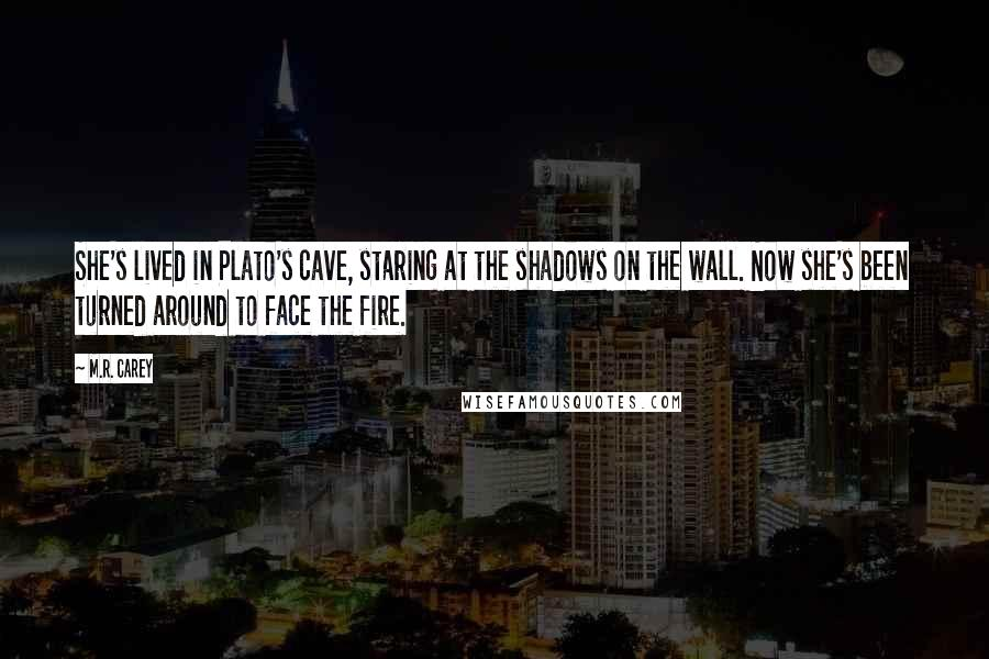 M.R. Carey quotes: She's lived in Plato's cave, staring at the shadows on the wall. Now she's been turned around to face the fire.