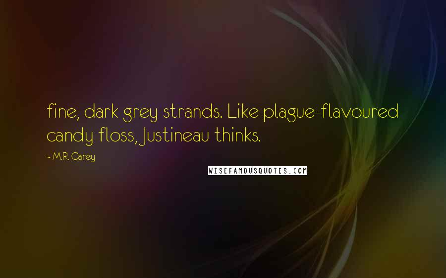 M.R. Carey quotes: fine, dark grey strands. Like plague-flavoured candy floss, Justineau thinks.