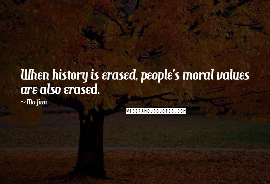 Ma Jian quotes: When history is erased, people's moral values are also erased.