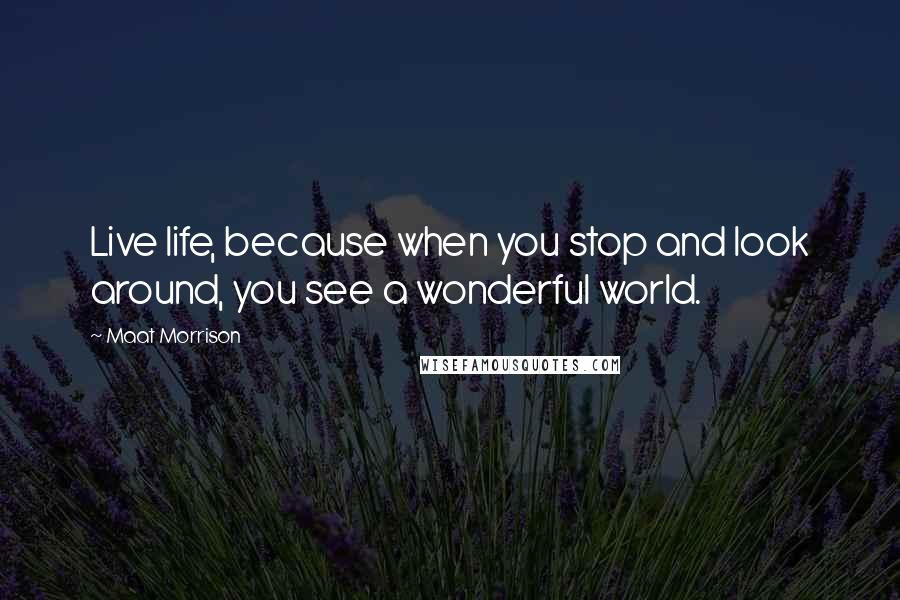Maat Morrison quotes: Live life, because when you stop and look around, you see a wonderful world.