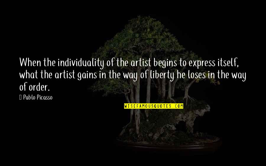 Macdonagh Quotes By Pablo Picasso: When the individuality of the artist begins to