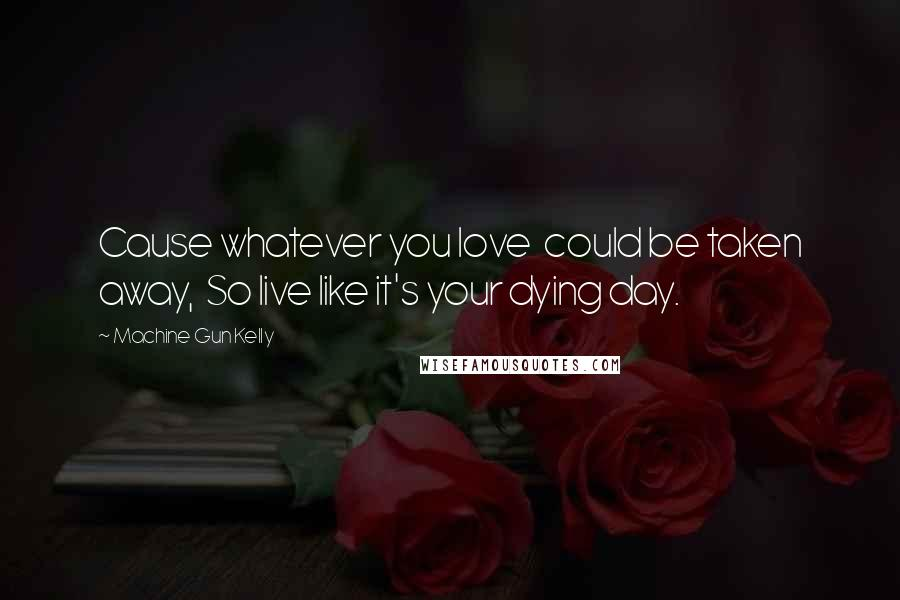 Machine Gun Kelly quotes: Cause whatever you love could be taken away, So live like it's your dying day.