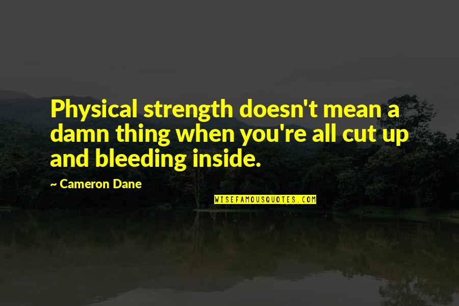 Mack Quotes By Cameron Dane: Physical strength doesn't mean a damn thing when
