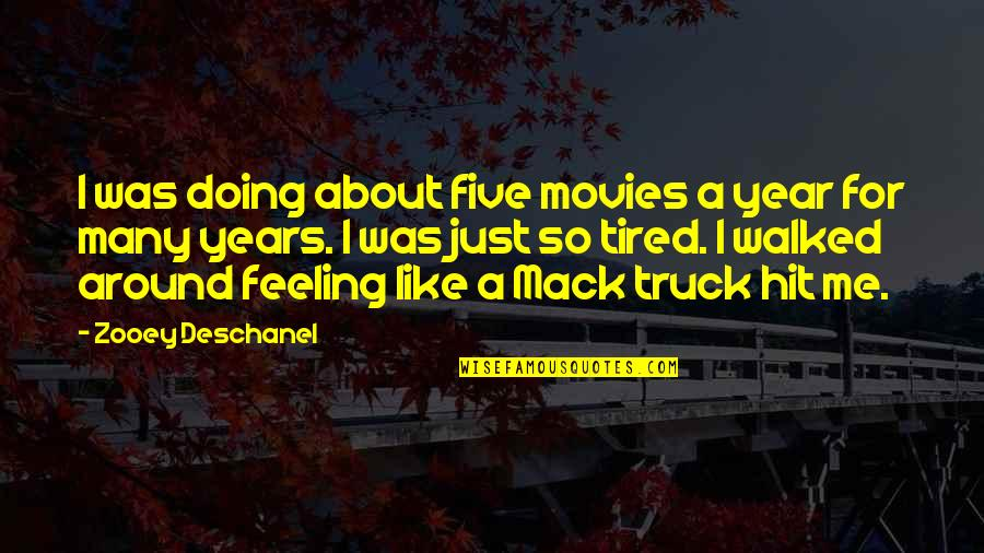 Mack Quotes By Zooey Deschanel: I was doing about five movies a year