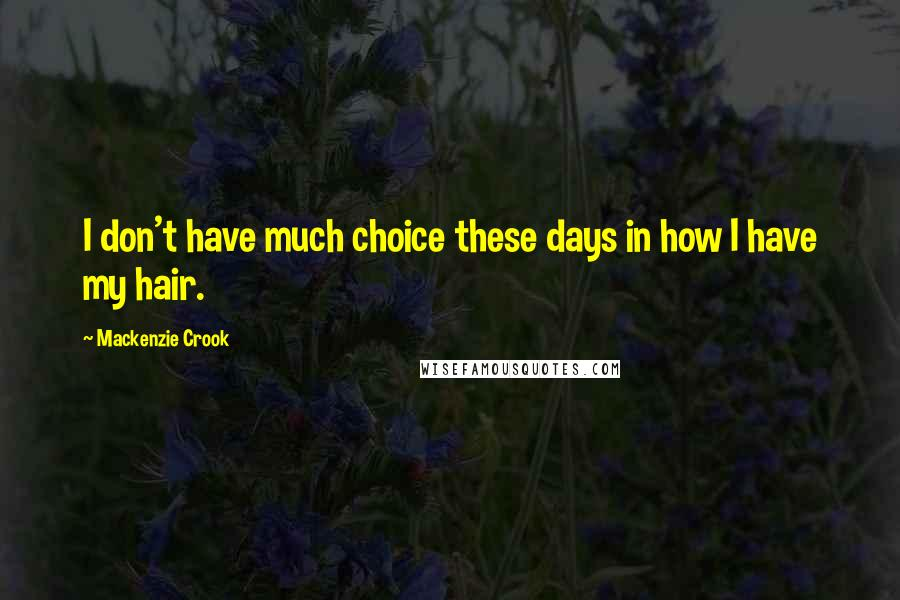 Mackenzie Crook quotes: I don't have much choice these days in how I have my hair.