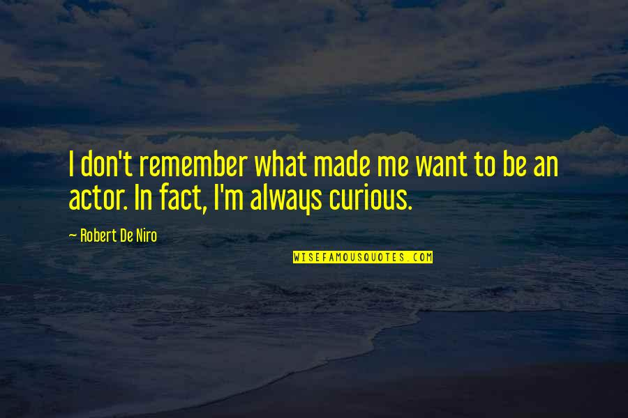 Made Up Facts Quotes By Robert De Niro: I don't remember what made me want to