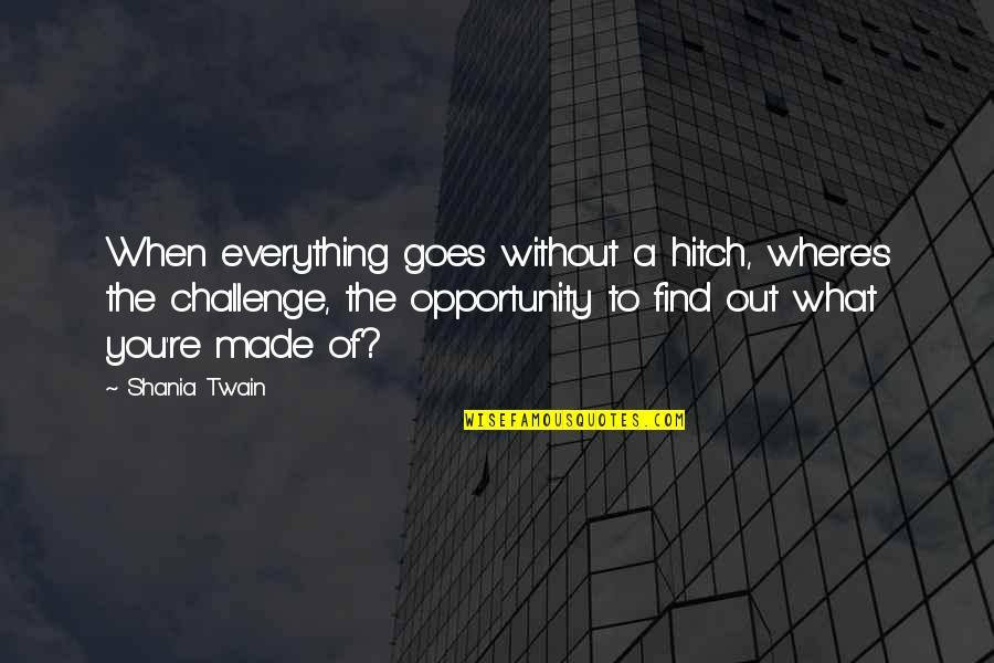Made's Quotes By Shania Twain: When everything goes without a hitch, where's the