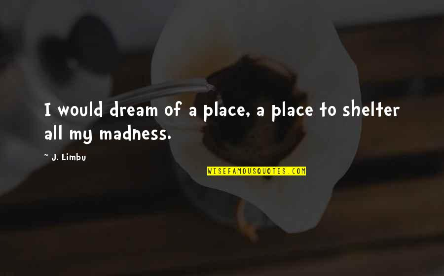 Madness And Sadness Quotes By J. Limbu: I would dream of a place, a place