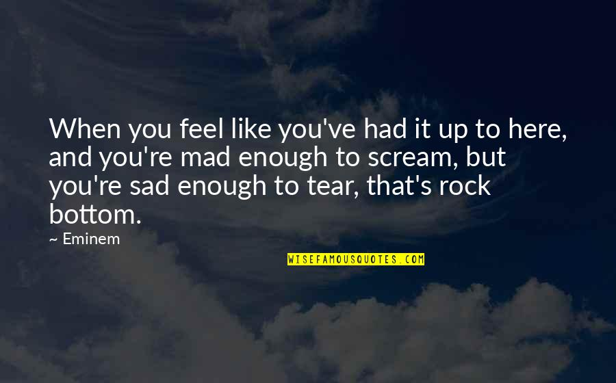 Mad's Quotes By Eminem: When you feel like you've had it up