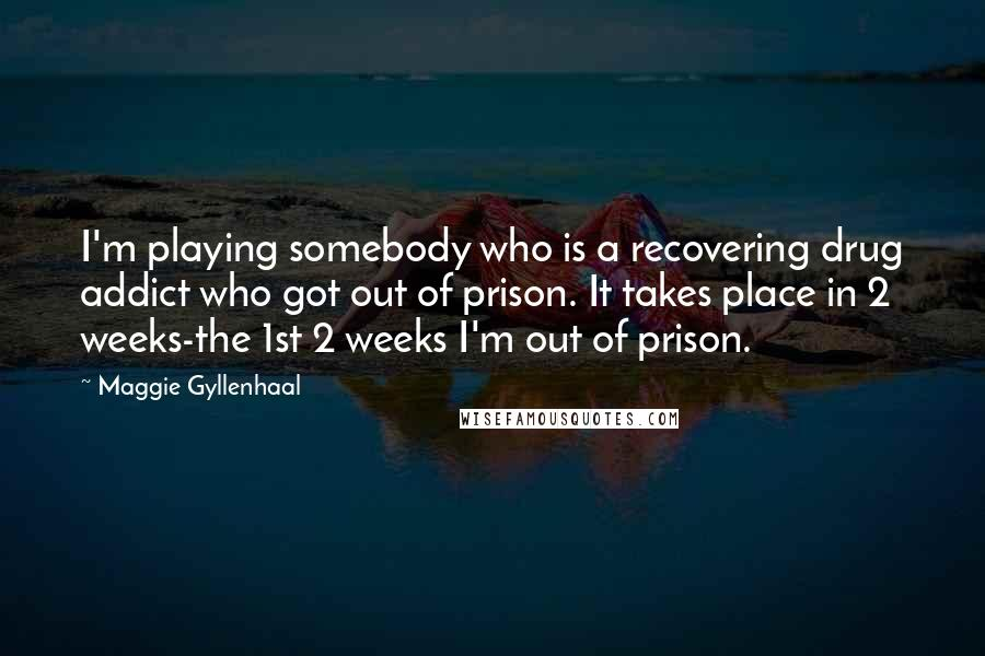 Maggie Gyllenhaal quotes: I'm playing somebody who is a recovering drug addict who got out of prison. It takes place in 2 weeks-the 1st 2 weeks I'm out of prison.