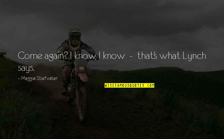 Maggie Stiefvater Quotes By Maggie Stiefvater: Come again? I know, I know - that's