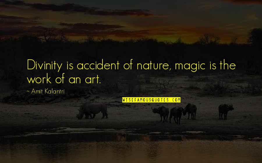 Magicians Quotes By Amit Kalantri: Divinity is accident of nature, magic is the