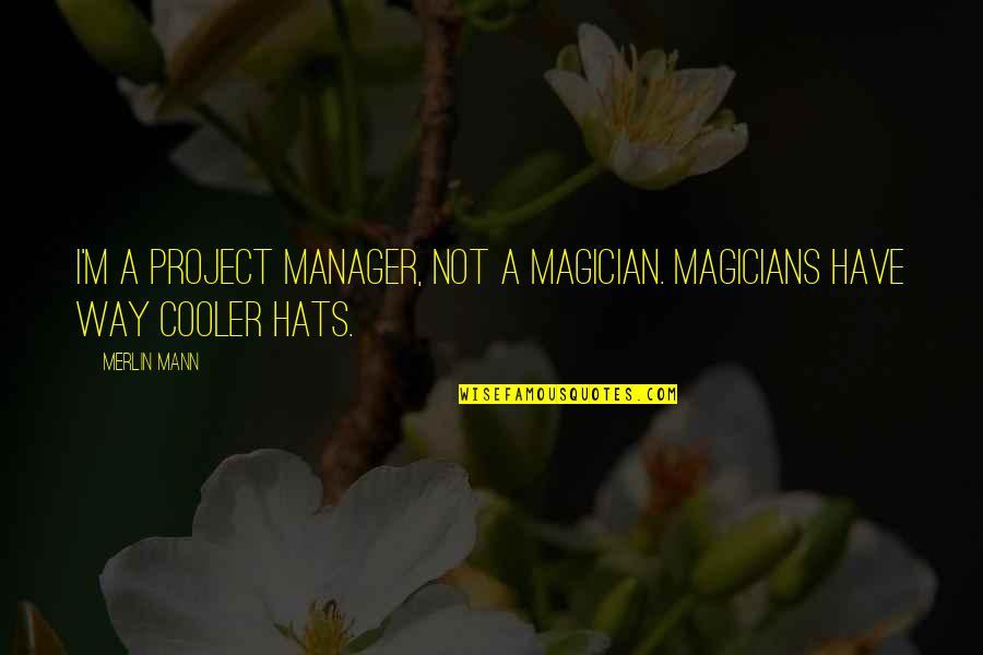 Magicians Quotes By Merlin Mann: I'm a project manager, not a magician. Magicians