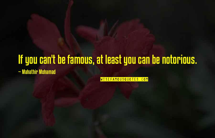 Mahathir Famous Quotes By Mahathir Mohamad: If you can't be famous, at least you