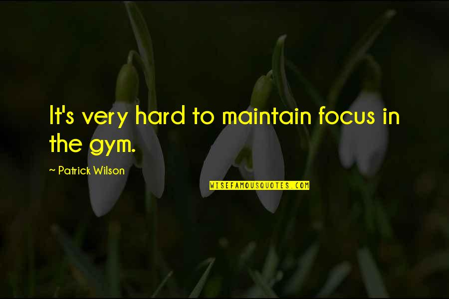 Maintain Focus Quotes By Patrick Wilson: It's very hard to maintain focus in the