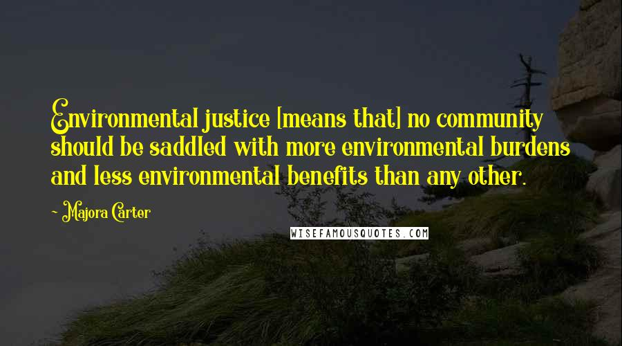 Majora Carter quotes: Environmental justice [means that] no community should be saddled with more environmental burdens and less environmental benefits than any other.