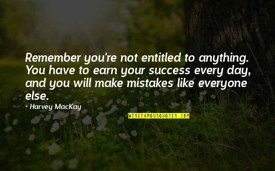 Make Like Quotes By Harvey MacKay: Remember you're not entitled to anything. You have