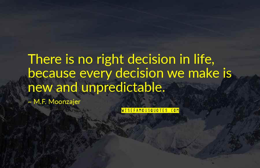 Make The Best Out Of Your Life Quotes By M.F. Moonzajer: There is no right decision in life, because