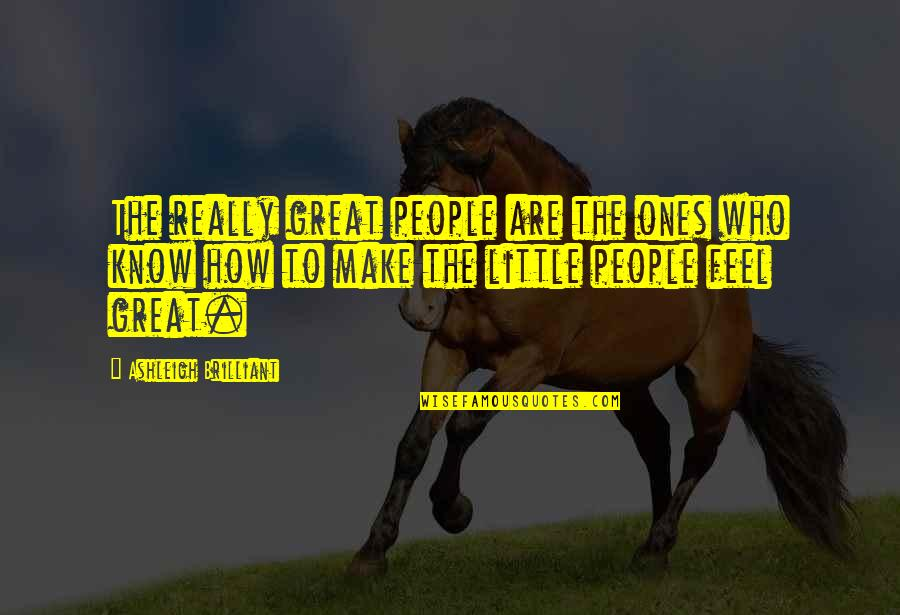 Make You Feel Great Quotes By Ashleigh Brilliant: The really great people are the ones who