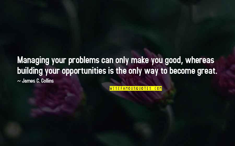 Make Your Own Business Quotes By James C. Collins: Managing your problems can only make you good,