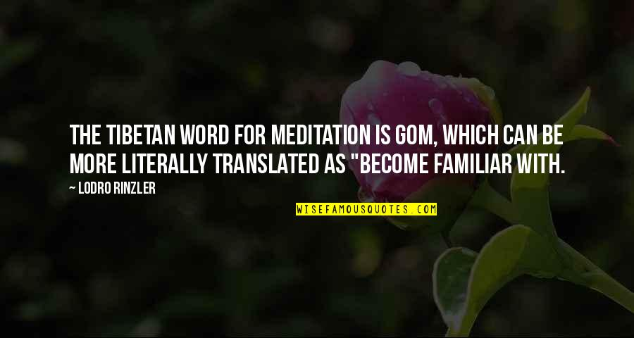 Making A Commitment To Someone Quotes By Lodro Rinzler: The Tibetan word for meditation is gom, which