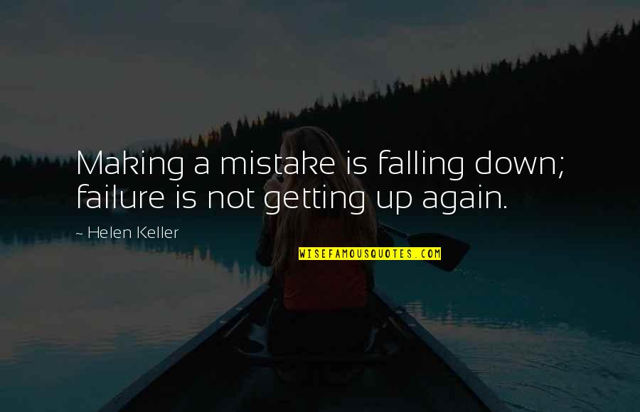 Making My Own Mistakes Quotes By Helen Keller: Making a mistake is falling down; failure is