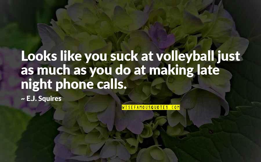 Making Phone Calls Quotes By E.J. Squires: Looks like you suck at volleyball just as