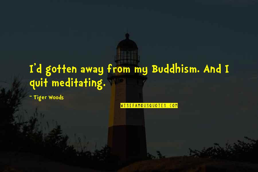 Making Something Out Of Nothing Quotes By Tiger Woods: I'd gotten away from my Buddhism. And I