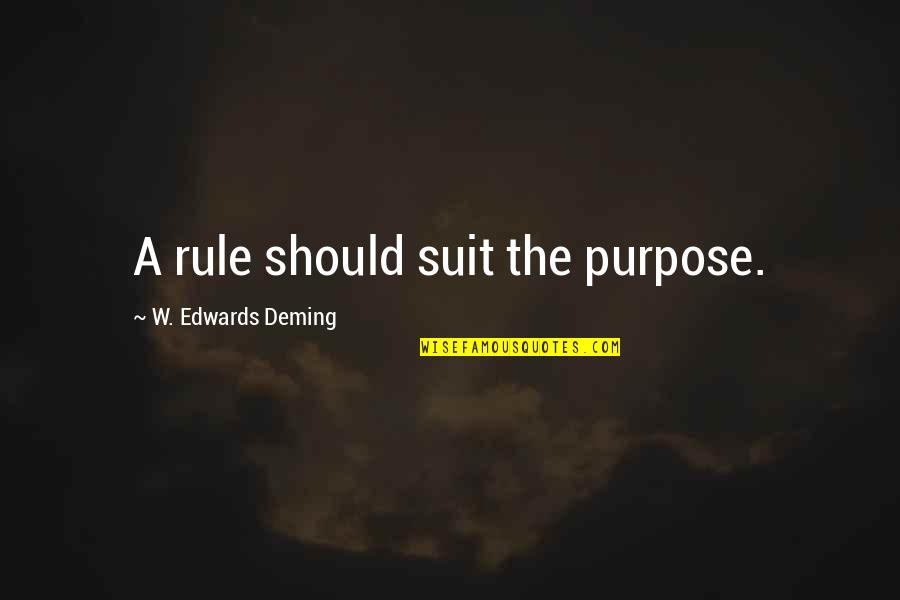 Maksud Dari Pap Quotes By W. Edwards Deming: A rule should suit the purpose.