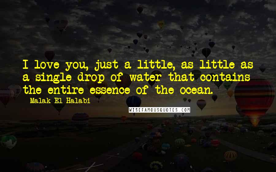 Malak El Halabi quotes: I love you, just a little, as little as a single drop of water that contains the entire essence of the ocean.