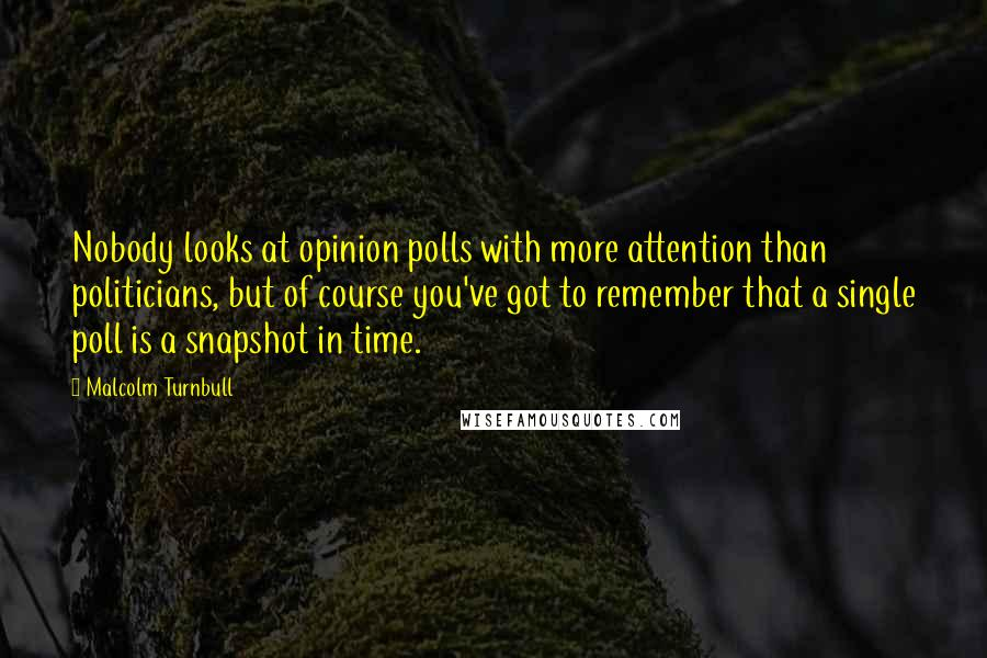 Malcolm Turnbull quotes: Nobody looks at opinion polls with more attention than politicians, but of course you've got to remember that a single poll is a snapshot in time.