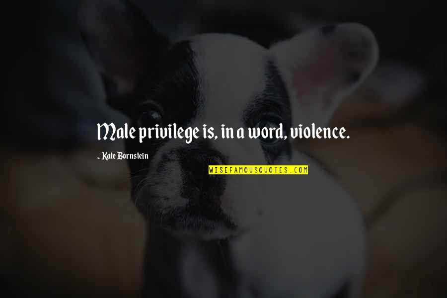 Male Violence Quotes By Kate Bornstein: Male privilege is, in a word, violence.