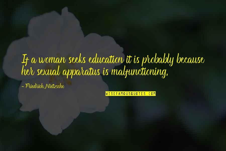 Malfunctioning Quotes By Friedrich Nietzsche: If a woman seeks education it is probably