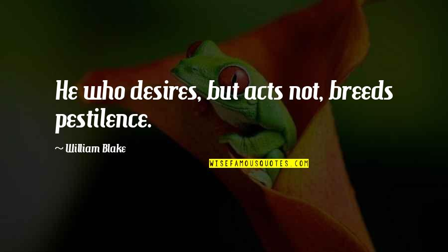 Malfunctioning Quotes By William Blake: He who desires, but acts not, breeds pestilence.