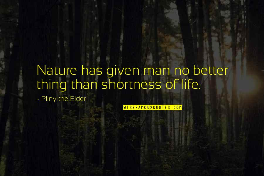 Man Of Quotes By Pliny The Elder: Nature has given man no better thing than