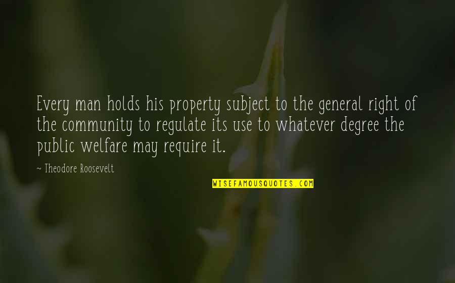 Man Of Quotes By Theodore Roosevelt: Every man holds his property subject to the