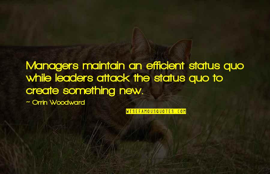 Managers And Leaders Quotes By Orrin Woodward: Managers maintain an efficient status quo while leaders