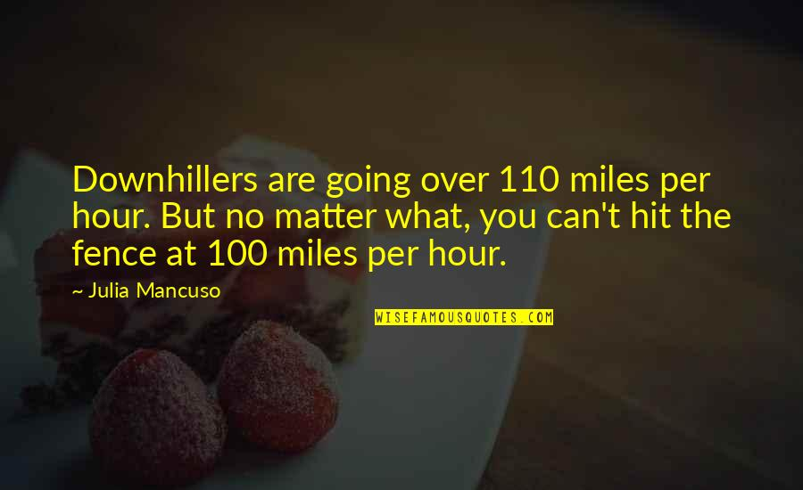 Mancuso Quotes By Julia Mancuso: Downhillers are going over 110 miles per hour.