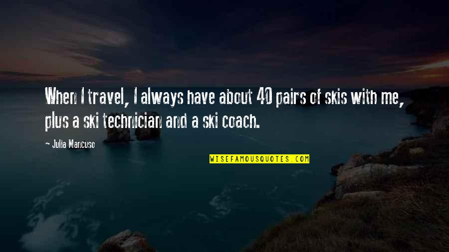 Mancuso Quotes By Julia Mancuso: When I travel, I always have about 40