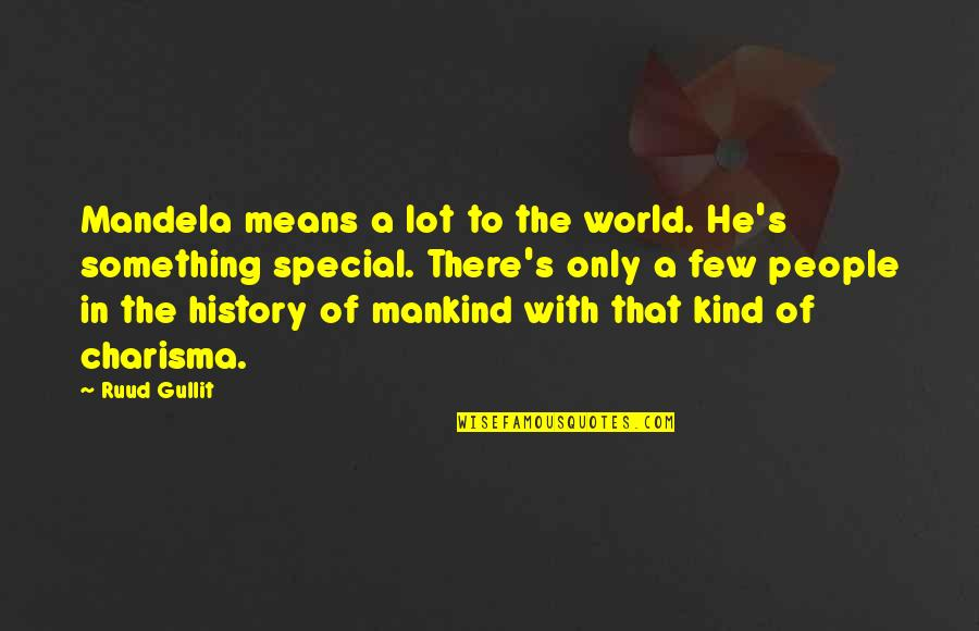 Mandela's Quotes By Ruud Gullit: Mandela means a lot to the world. He's