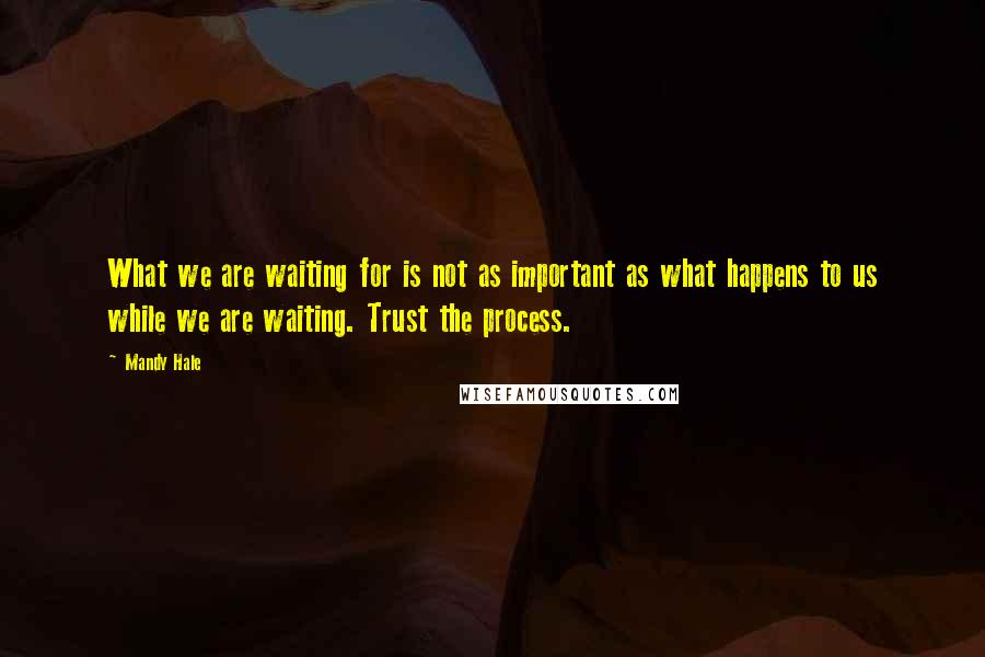 Mandy Hale quotes: What we are waiting for is not as important as what happens to us while we are waiting. Trust the process.