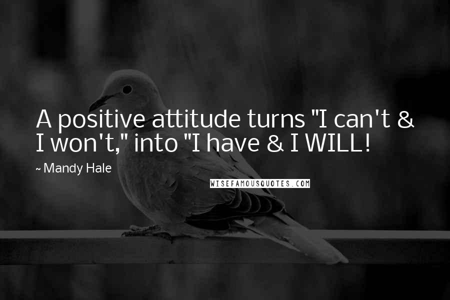 "Mandy Hale quotes: A positive attitude turns ""I can't & I won't,"" into ""I have & I WILL!"