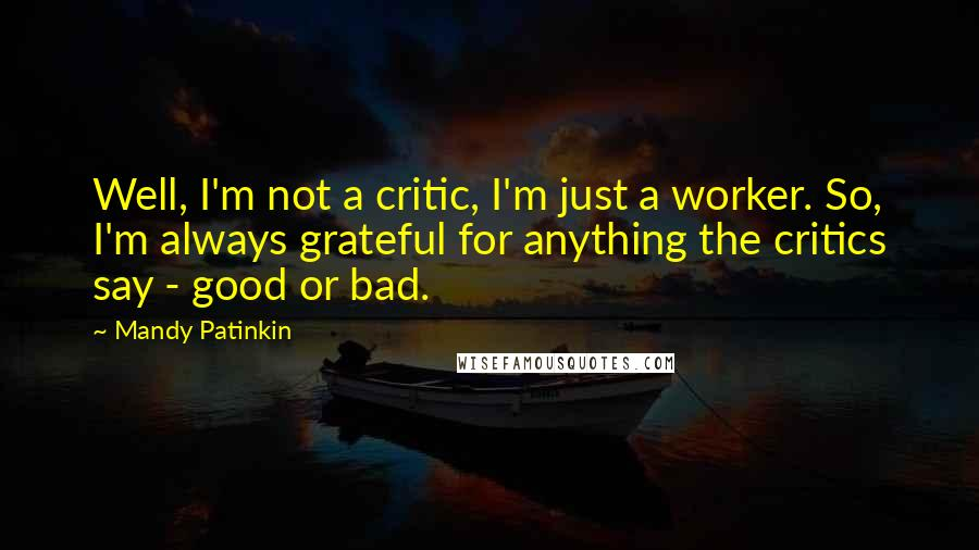 Mandy Patinkin quotes: Well, I'm not a critic, I'm just a worker. So, I'm always grateful for anything the critics say - good or bad.
