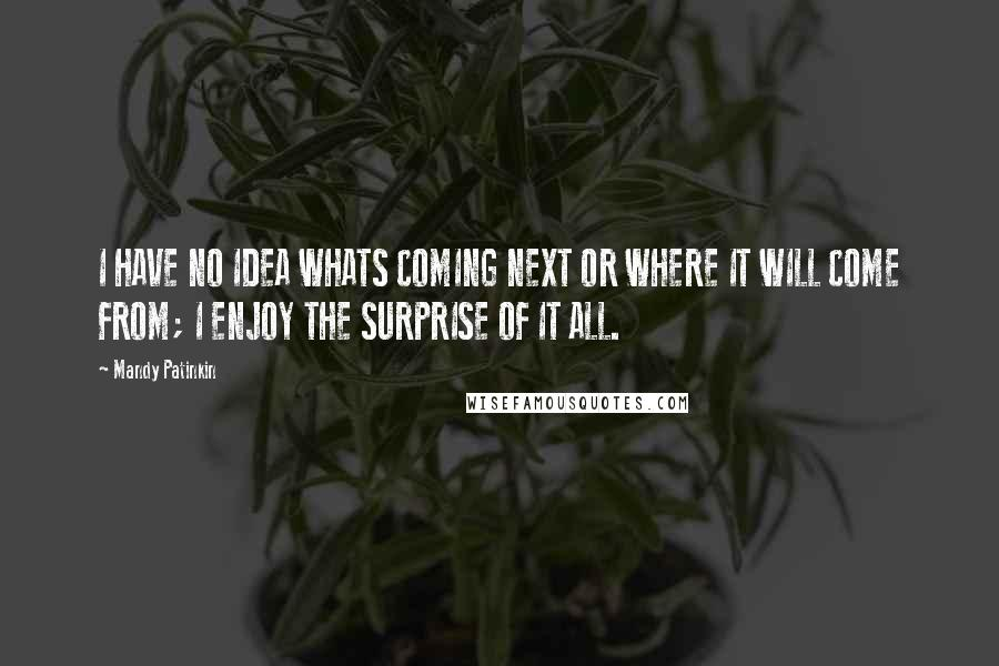 Mandy Patinkin quotes: I HAVE NO IDEA WHATS COMING NEXT OR WHERE IT WILL COME FROM; I ENJOY THE SURPRISE OF IT ALL.