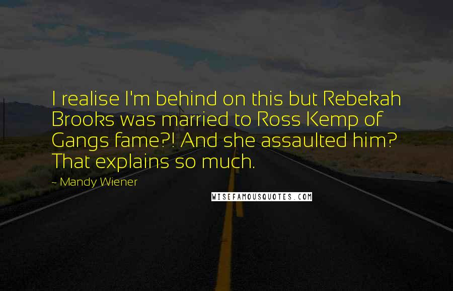 Mandy Wiener quotes: I realise I'm behind on this but Rebekah Brooks was married to Ross Kemp of Gangs fame?! And she assaulted him? That explains so much.