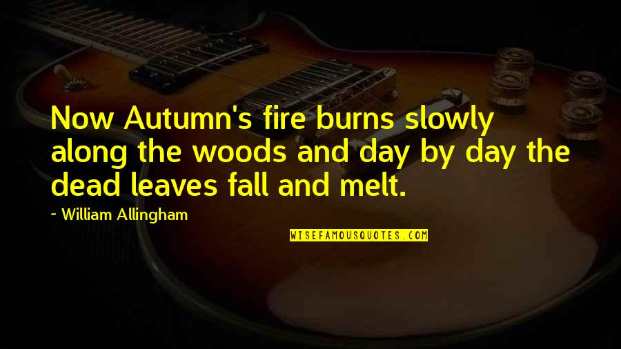 Manic Street Preachers Song Quotes By William Allingham: Now Autumn's fire burns slowly along the woods