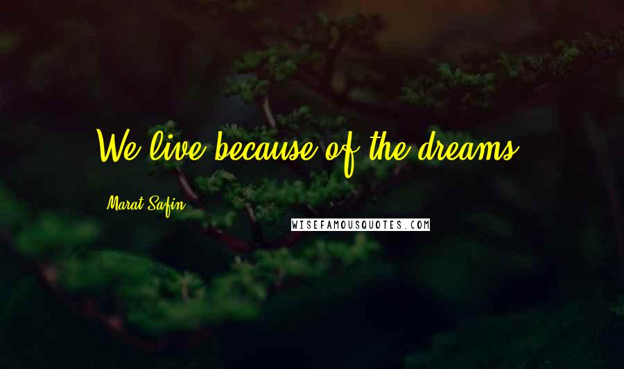 Marat Safin quotes: We live because of the dreams.