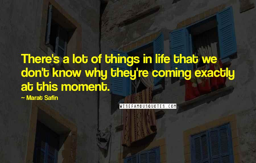 Marat Safin quotes: There's a lot of things in life that we don't know why they're coming exactly at this moment.